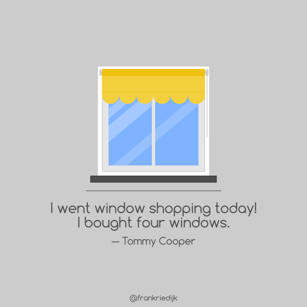 Illustration of a window with a Tommy Cooper quote
